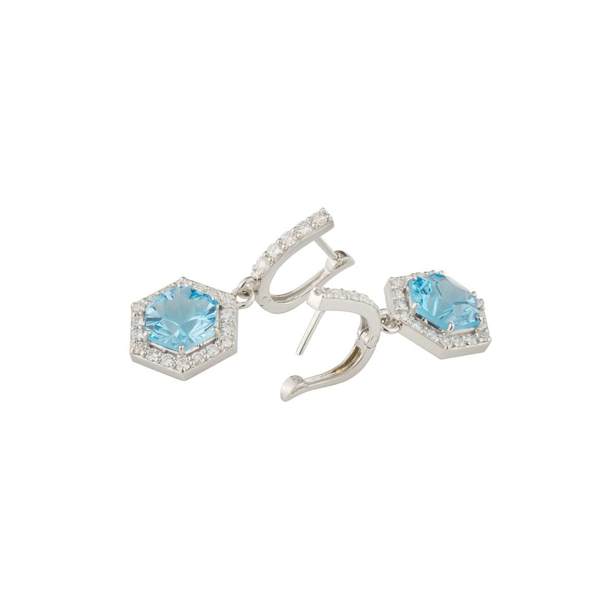 White Gold Diamond and Topaz Earrings